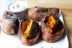 Slow roasted sweet potatoes - francis mallman via smitten kitchen Side Recipes, Vegetable Recipes, Tuna Recipes, Veggie Food, Meal Recipes, Vegetarian Food, Salad Recipes, Francis Mallman, Slow Roast