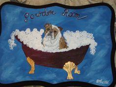 Bulldog Custom Painted Powder Room Sign by daniellesoriginals, $26.95