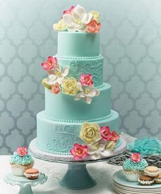 Tiffany Blue Wedding Cake With Pink Gum Paste Flower Accents