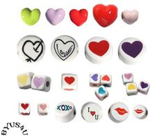PERUVIAN CERAMIC BEADS HEARTS and LOVE theme CHOOSE STYLE SPECIAL SALE