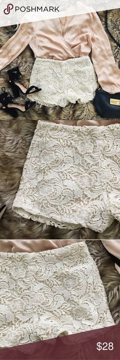 Cream crocheted lace high waisted shorts A pair of high waisted cream colored crocheted shorts. The brand is staring at stars and these were purchased from urban outfitters. There is a slight imperfection on the back bottom right of the shorts as shown in the last photo. A very faint blue tint is seen on a few spots of the crocheting. Staring at Stars Shorts
