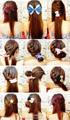 A few ways to use hair bows.if i had long hair Health Guru, Health Trends, Hair And Makeup Tips, Hair Makeup, Natural Hair Care, Natural Hair Styles, Beauty Care, Hair Beauty, Womens Health Magazine