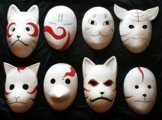 Last minute Halloween costume - Anbu Mask. Recycle and reuse old cereal or cardboard boxes into a Anbu mask for Halloween. Halloween Clown, Last Minute Halloween Kostüm, Mascara Anbu, Anime Mascaras, Anbu Mask, Ninja Mask, Mascaras Halloween, Kitsune Mask, Diy Masque