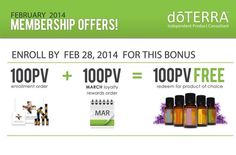 It's back till Feb 2015. I have your special code: Free 100PV = $100 in Oils. www.mydoterra.com/maryhart
