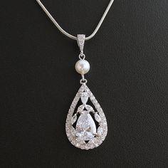 Wedding Necklace Bridal Jewelry with Luxury Large by poetryjewelry, $38.00