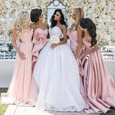 119€ Elegante Lange Brautjungfernkleider Rosa Taft Meerjungfrau Taft Kleider Für Brautjungfern