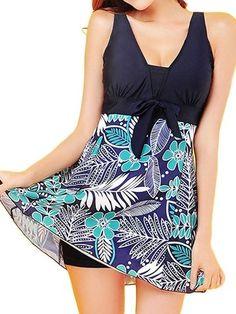 Plus Size Women Sexy Floral Printing One Piece Swimdress Bowknot Dress Swimsuit Swimwear - Newchic Mobile
