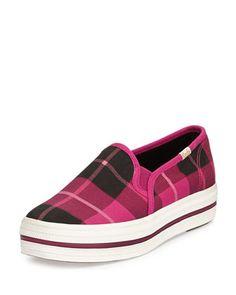 decker plaid slip-on sneaker, pink at CUSP.