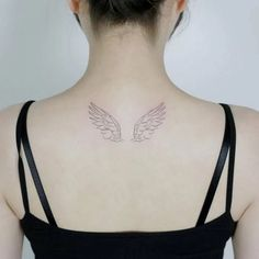 Hand drawn wings tattoo on the upper back.- Hand drawn wings tattoo on the upper back. Angle Wing Tattoos, Fairy Wing Tattoos, Angle Tattoo, Wing Tattoos On Back, Wing Tattoo Men, Wing Tattoo Designs, Butterfly Tattoos, Female Back Tattoos, Small Wing Tattoos