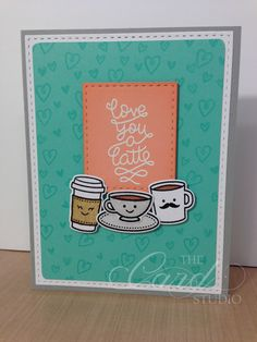 Handmade by Whitney, The Card Studio, Made with: Lawn Fawn, Love you a latte, Stitched Rectangle