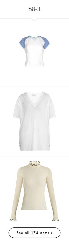"""""""68-3"""" by yourgoldlord ❤ liked on Polyvore featuring tops, t-shirts, blue and white t shirt, blue and white top, ripped t shirt, long line tees, cotton jersey, distressed t shirt, distressed white t shirt and gucci"""