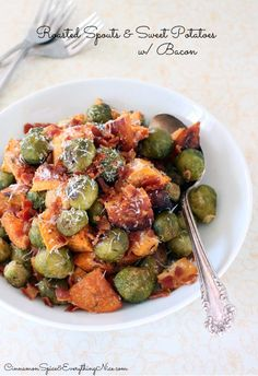 Roasted Brussels Sprouts, Sweet Potatoes and Bacon.