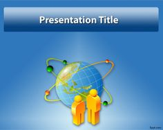 Free Globe PowerPoint Template with blue background and characters in a globe atom effect