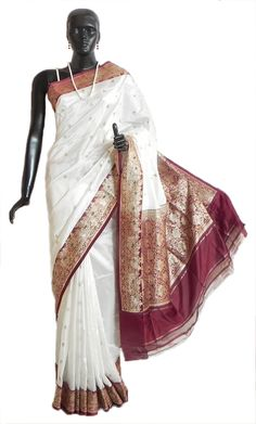 Banarasi White Koriyal Katan Silk Saree with All-Over Zari Boota, Maroon Border and Gorgeous Pallu (Silk))