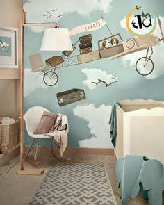 Il color carta da zucchero, può diventare il colore di fondo di una decorazione murale simpatica e divertente (questa è di Little Hands Illustration)