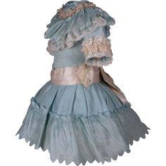 JUMEAU ANTIQUE DRESSES   Wonderful Antique Aqua Silk Satin French Bebe Dress for JUMEAU, BRU ...