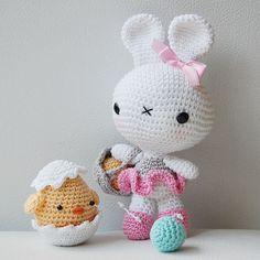 Amigurumi bunny & chick in an eggshell