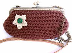 cartera/bolso de ganchillo marrón con boquilla hilo,boquilla metálica,tela ganchillo,