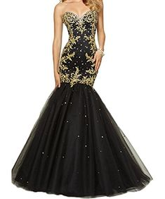 PinkMemory Womens Sweetehart Gold Appliques Black Tulle Mermaid Prom Dress Evening Dress Size 14 *** Click for Special Deals #HomecomingDresses2017
