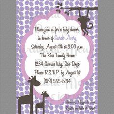Baby Shower Invitation, Safari Jungle Baby Shower, Invite - Purple Brown Pink - Printable - Avery. $12.00, via Etsy.