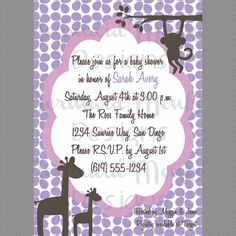 Baby Shower Invitation, Safari Jungle Baby Shower, Invite - Purple Brown Pink - Printable - Avery. $12.00, via Etsy.