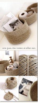 dottyspotsdesign: Crocheted storage bowls from packing twine by lestissuscolbert