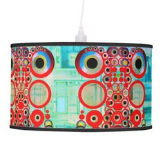 Lamp with red symmetric pattern