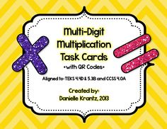 FREE! Multi-Digit Multiplication Task Cards with QR Codes!