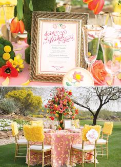 Beautiful Yellow & Coral Garden Bridal Shower