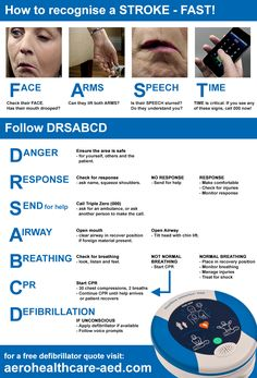 How to recognise a Stroke and act FAST with the DRSABCD action plan! Visit www.aerohealthcare-aed.com for a free defibrillator quote #worldstrokeday #nationalstrokeweek #australia