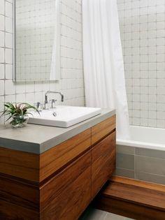 needs: smaller vanity - singe drawer pull? Change tile - railroad.  http://www.houzz.com/photos/502358/Teak-and-Concrete-Bathroom---Williamsburg-Renovation-modern-bathroom-new-york