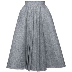 Dice Kayek A Line Pleated Skirt ($5,400) ❤ liked on Polyvore featuring skirts, high waisted knee length skirt, gray pleated skirt, high-waisted skirts, wool skirt and gray wool skirt