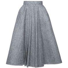 Dice Kayek A Line Pleated Skirt found on Polyvore featuring skirts, high-waist skirt, gray skirt, a line skirt, knee length pleated skirt and gray a line skirt