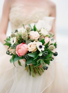 peony and anemone bouquet / Alea Lovely Photography