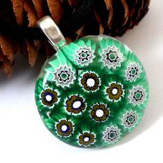 Fun Millefiori Flower Pendant in Greens and Browns, 1 inch round, OOAK | ResetarGlassArt - Jewelry on ArtFire