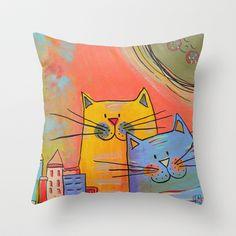 City cats Throw Pillow by Carina Povarchik - $20.00