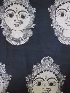 Buy Faces - hand painted Kalamkari Fabric