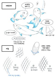 #HowToDrawFish #Fish #동물그리기 #동물드로잉 #물고기드로잉 #블루젯 #BlueZ Animal Drawings, Art Drawings, Character Art, Character Design, Manga Tutorial, Nature Sketch, Figure Drawing Reference, Manga Drawing, Drawing Techniques