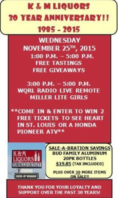 Join Dave from Q106 broadcasting live from K&M Liquors on Wednesday 11/25/15 for their 30th Anniversary Celebration. Awesome sales, and awesome giveaways!