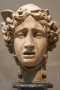 The Head of Medusa.. By Antonio Canova [1757-1822] 1801 /Plaster.. the marker reads.. The great Neoclassical sculptor Antonio Canova dominated the artistic scene in Rome at the turn of the 19th century. T