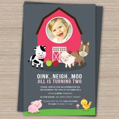 First Birthday Party Invitations girl, 2nd Birthday Invites Boy Girl, Custom girl Invites, animals, Farm Invitation by CREATIVECOWS on Etsy https://www.etsy.com/listing/230939334/first-birthday-party-invitations-girl