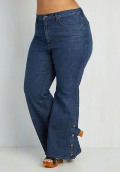 Faster and Fastener Jeans in Plus Size - Blue, Solid, Buttons, Pockets, Casual, Vintage Inspired, 70s, Flare / Bell Bottom, Variation, Festival, Boho, Exclusives, Top Rated