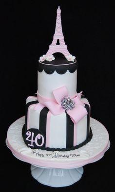 Eiffel tower 40th birthday cake