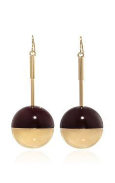 Red and gold metal globe earrings  by MARNI Now Available on Moda Operandi