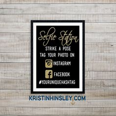 Having a Photo Booth at your wedding reception or special event? Then you need this custom selfie station sign to let your guests know to share