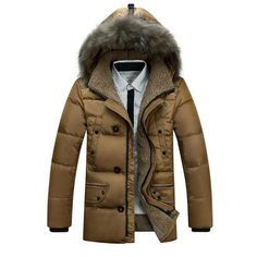 New Fashion Winter Medium-long Jacket Men White Duck Down Jackets Parkas Outdoor Warm Faux Fur Hood Down Coat 13M0108