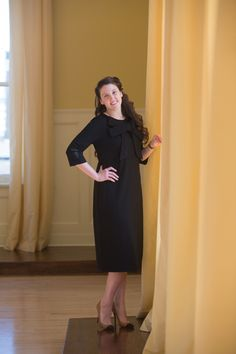 Modest Fashion | Modest Bridesmaid Dresses | Black Signature Bow Dress by Dainty Jewell's | www.daintyjewells.com