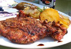 Grilovačka v plném proudu. Vynikající měkké masíčko a lahodné brambory pečené v alobalu. Autor: Naďa I. (Rebeka) What To Cook, Tandoori Chicken, Steak, Grilling, Pork, Treats, Cooking, Ethnic Recipes, Carne Asada