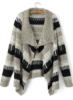 To find out about the Black Grey Striped Lapel Loose Knit Cardigan at SHEIN, part of our latest Sweaters ready to shop online today! Chunky Knit Cardigan, Striped Cardigan, Striped Knit, Oversized Cardigan, Open Cardigan, Asymmetrical Coat, Long Sweaters, Warm Sweaters, Sweater Fashion
