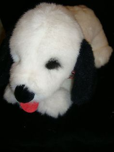 "Gund Plush White Dog Black Eye Ears Red Plaid Bow Big Soft 16"" Stuffed Animal"